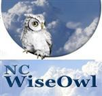 NC WiseOwl icon with blue sky and white owl