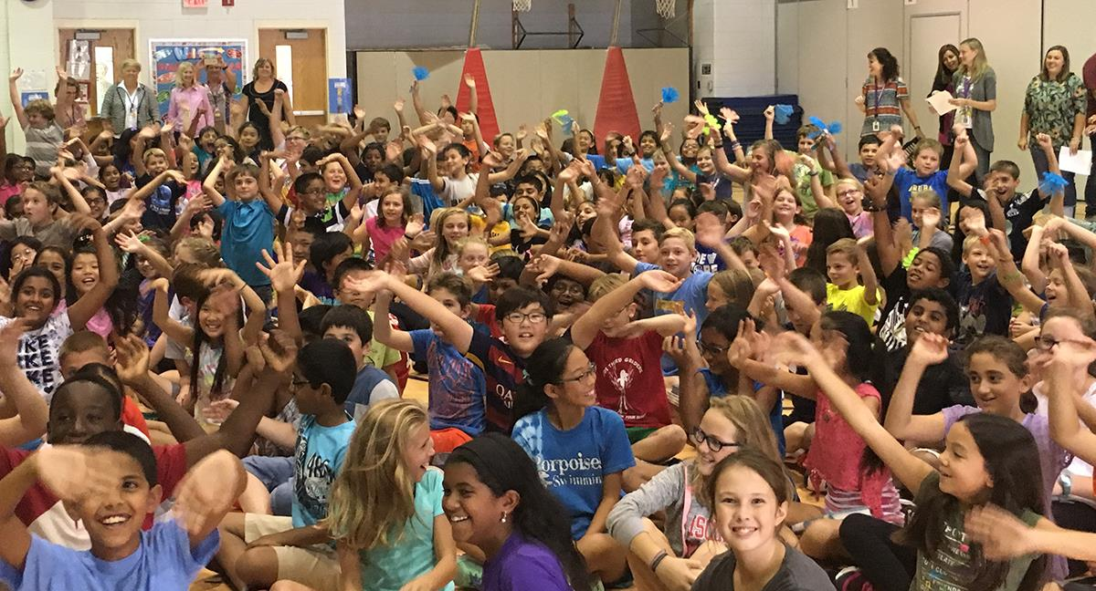 Students at Davis Dr. Elementary celebrate being named a 2016 National Blue Ribbon School