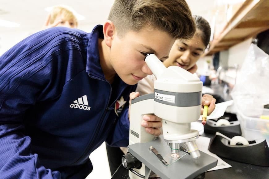 Martin Middle School student looks into microscope
