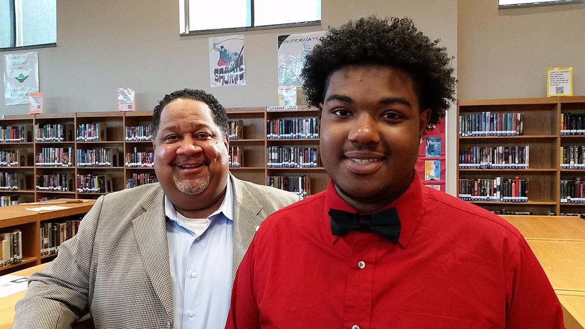 Student Shaquan Carroll with his mentor, Kendall Harris