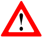 Black exclamation mark in red triangle