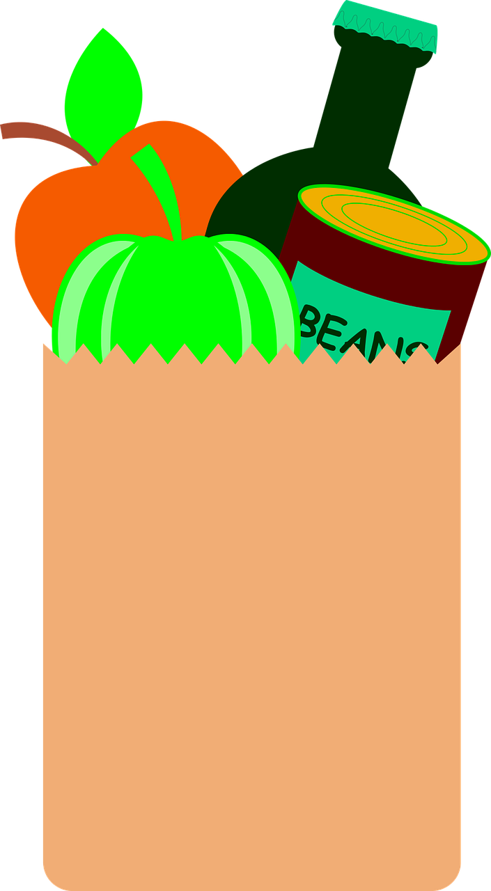 Brown paper bag with vegetables