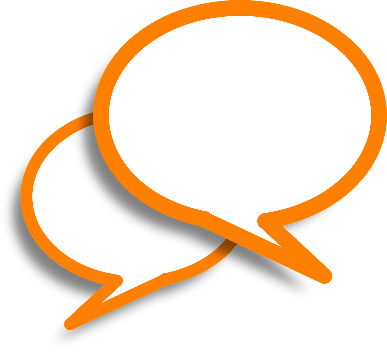 Two white speech bubbles overlapping with orange outline.