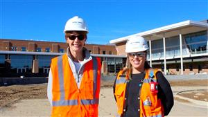 Dr. Kearney with  Laura Smith, Project Manager for Balfour Beatty Construction Company