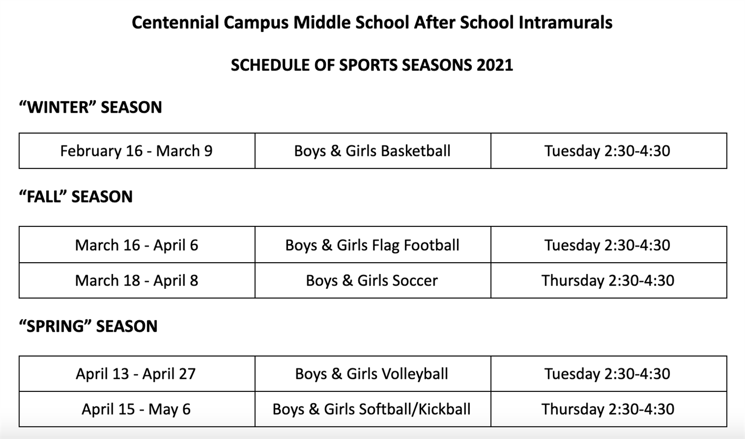 Intramurals for Plan B Students