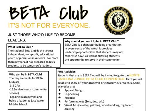 beta club flyer