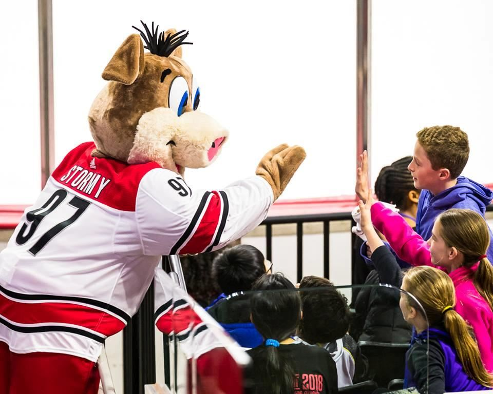 Carolina Hurricanes mascot Stormy interacts with students