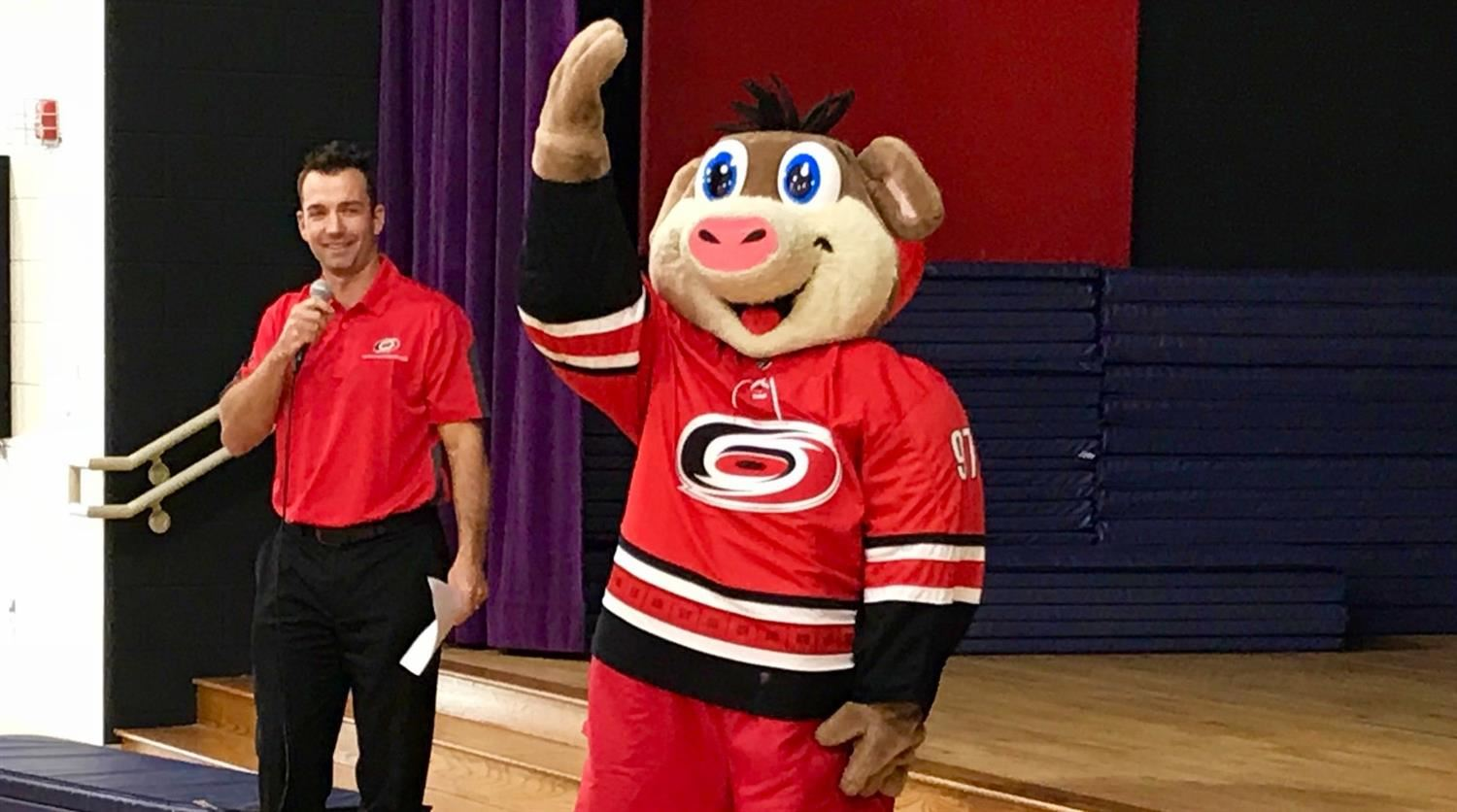 Stormy from the Carolina Hurricanes visits White Oak Elementary