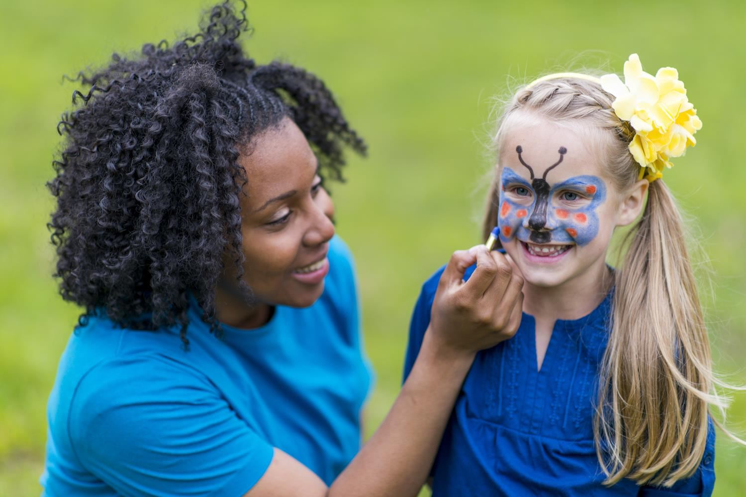 face painting at the camp and track-out fair
