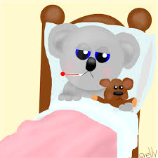 Sick Koala laying in bed with a thermometer in his mouth and holding a teddy bear.