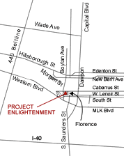 a map to direct people where to park at the Project Enlightenment location