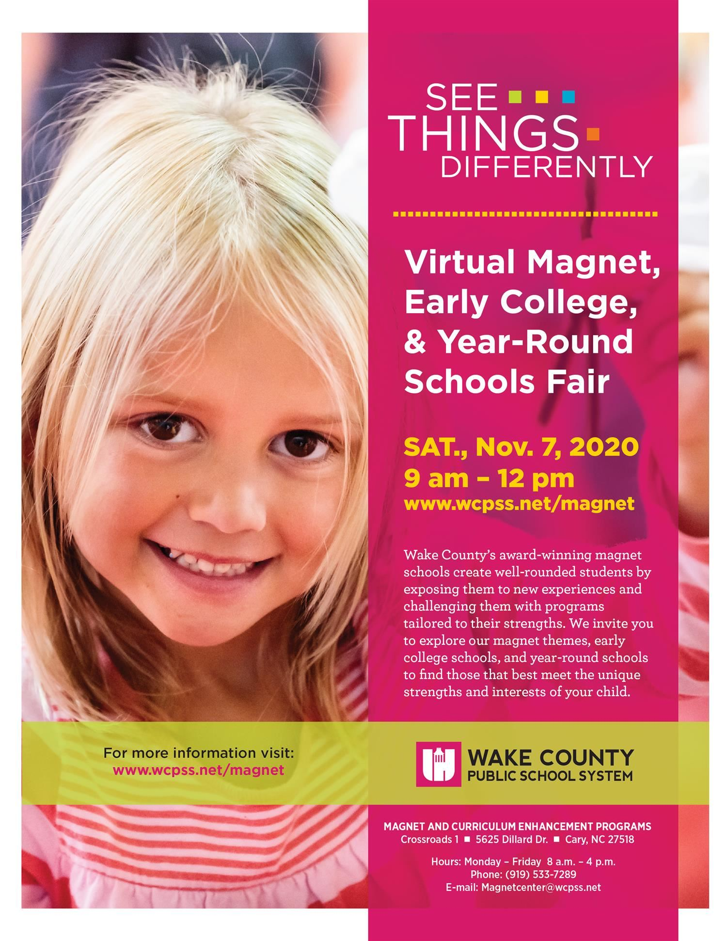 Virtual MAGNET, EARLY COLLEGE AND YEAR-ROUND SCHOOLS FAIR