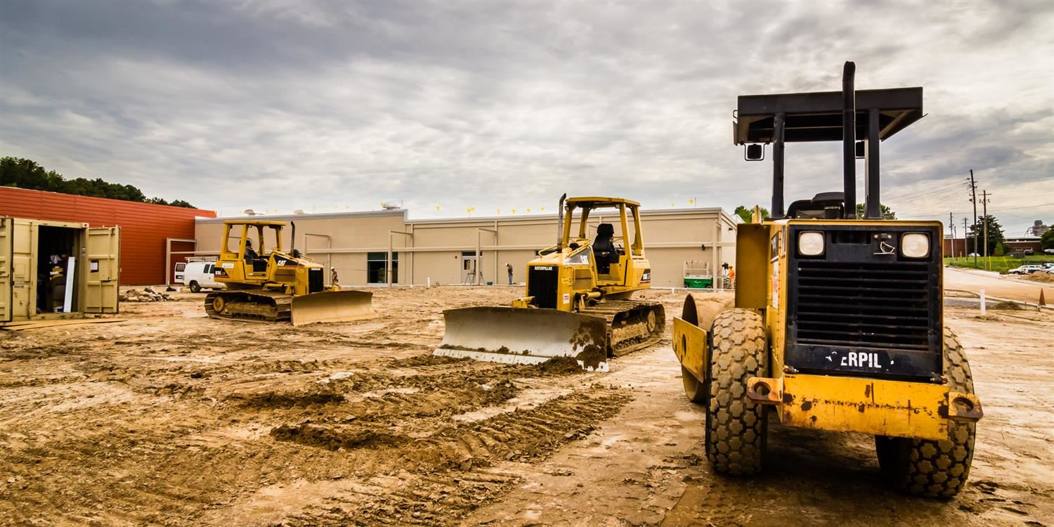 Construction equipment on school building site