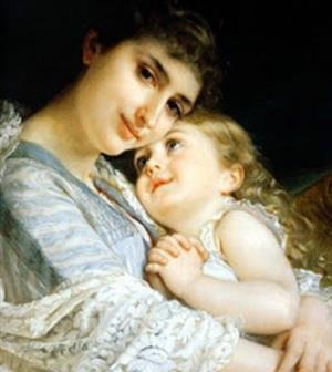 painting of woman and child