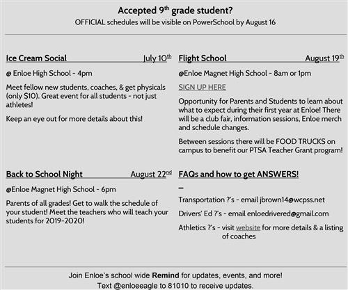 Rising 9th Gr. Information