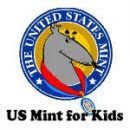 US MInt for Kids link logo with Blue outer circle with a young animal wearing a red medal