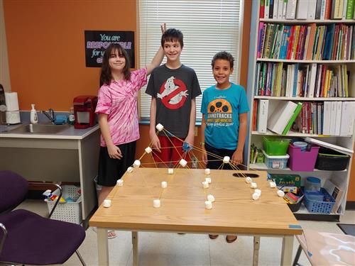 Students with Marshmallow Towers