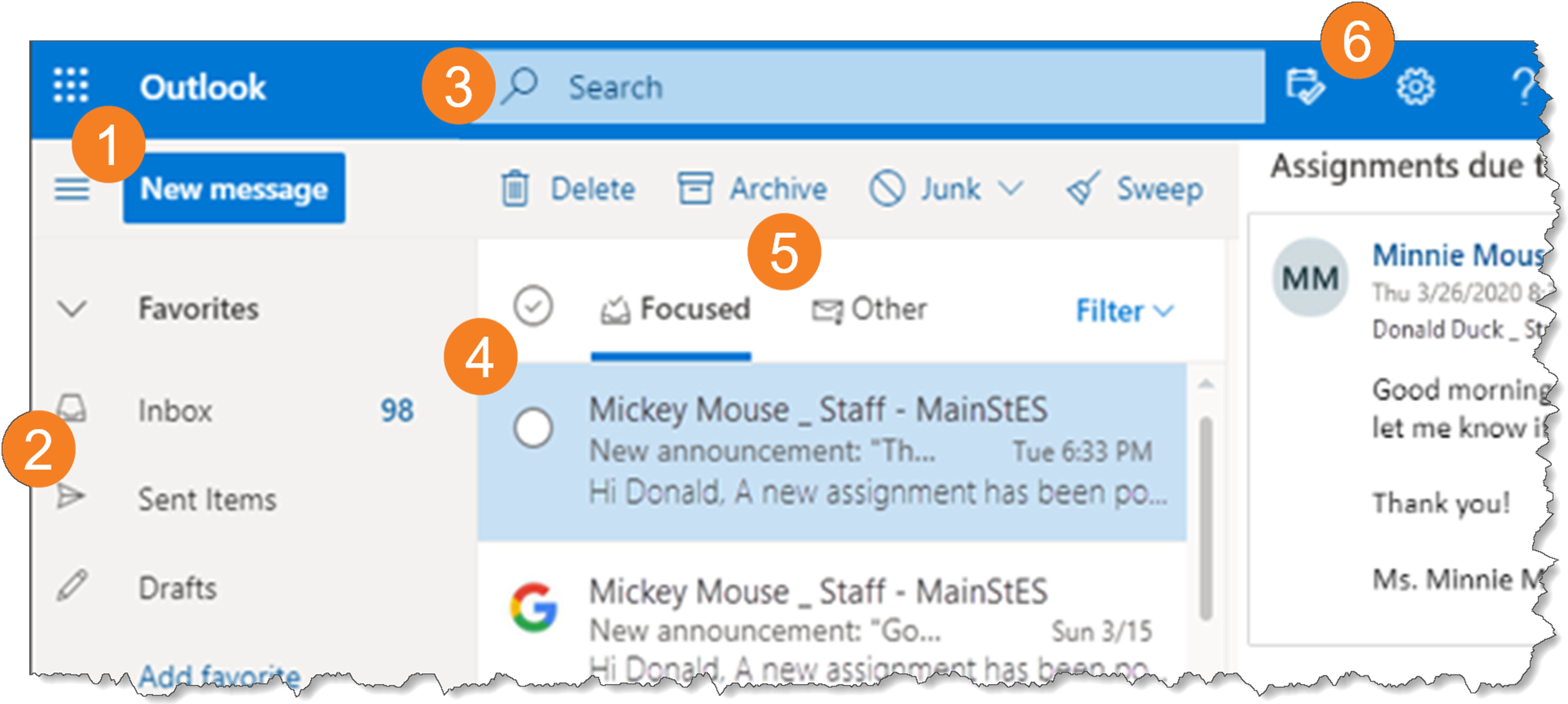 screenshot illustrating the Inbox Overview