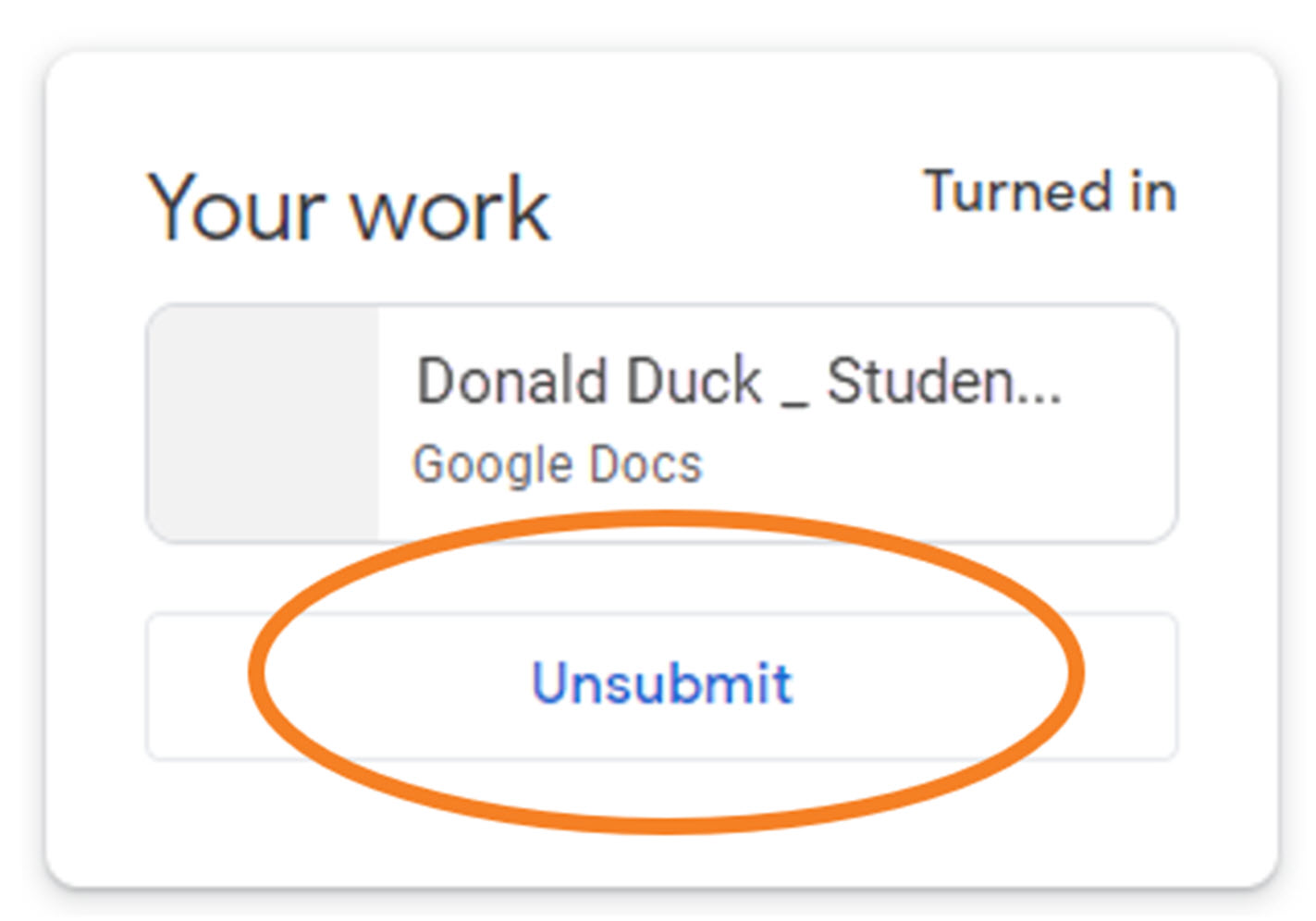 "Screenshot illustrating ""unsubmit"" button"