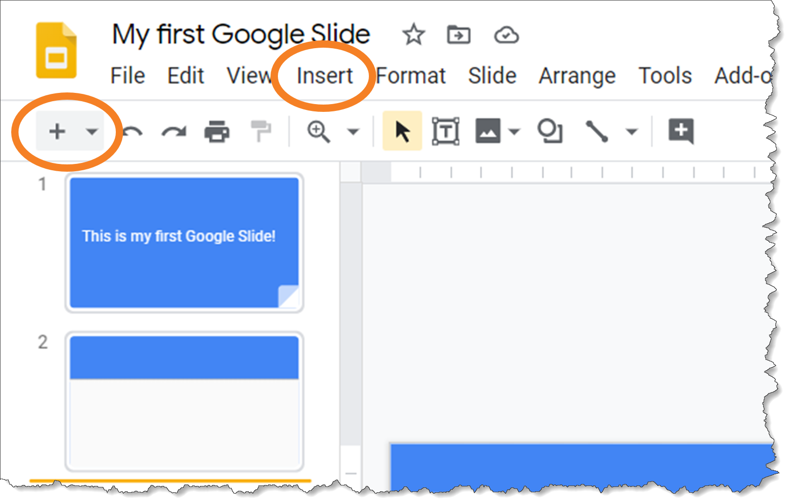 screenshot illustrating how to add a slide