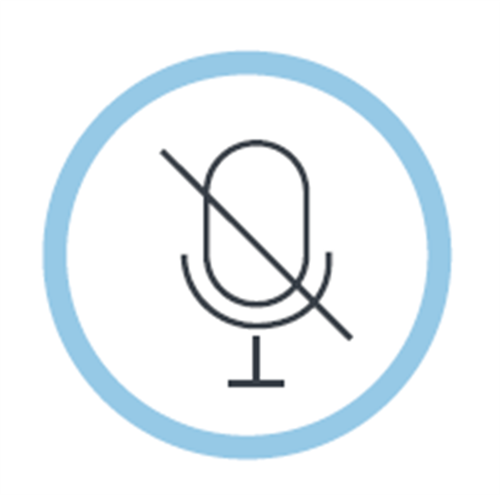 mute mic image surrounded by a circle