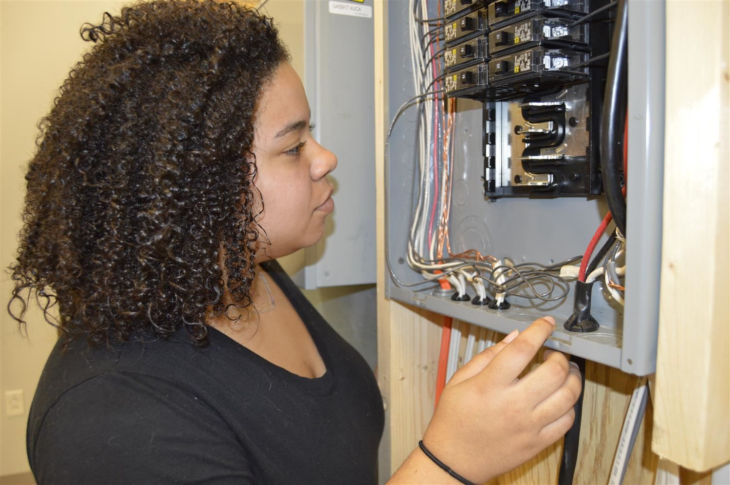 Student working on electrical panel