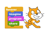 Scratch Coding Site, FOrever, Imagine, Program, SHare with Scratch Cat