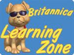 Britannica Learning Zone yellow words in a Blue square with puppy wearing glasses