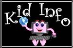 Black square with pink computer robot holding a globe with Kid Info words describing the site link