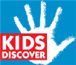 Kids Discover words in a red box with a white hand in the background on a blue square link to site
