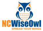 Blue and Orange NC Wise Owl, Spread your wings own logo link
