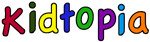 Multicolored Kidtopia letters for kid research site