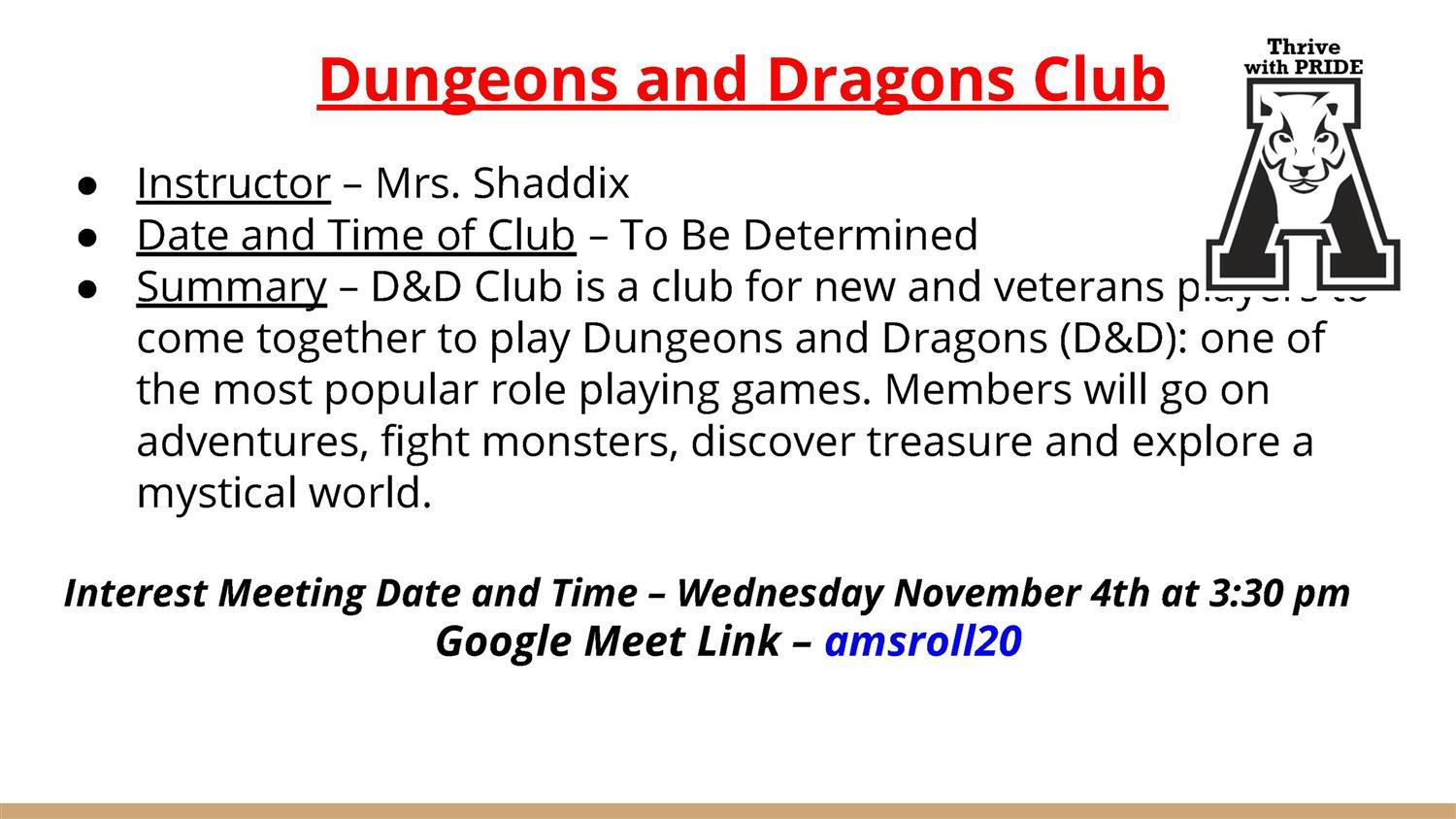 Dungeons and Dragons Club Information