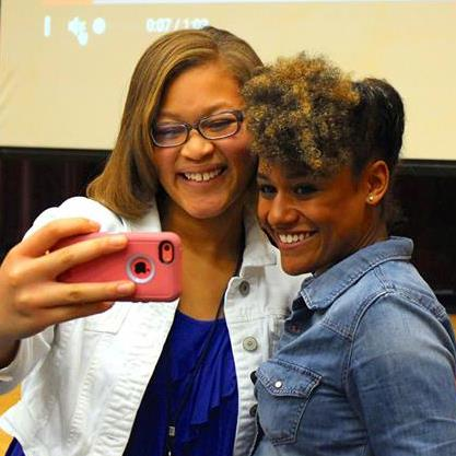 photo of Broadway actress Ariana Dubose with student