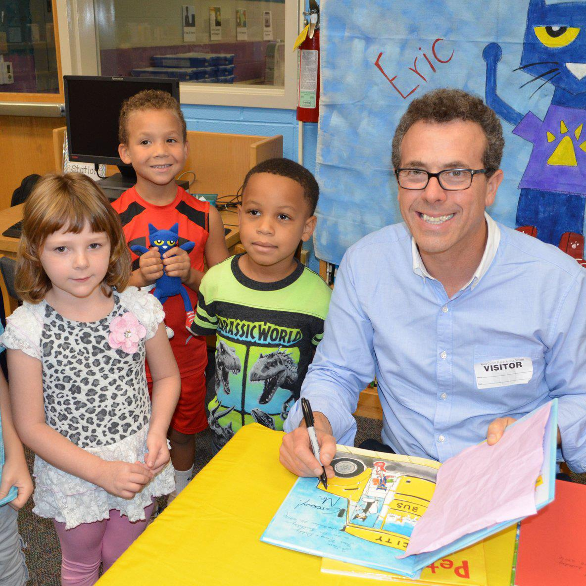 photo of author Eric Litwin with students
