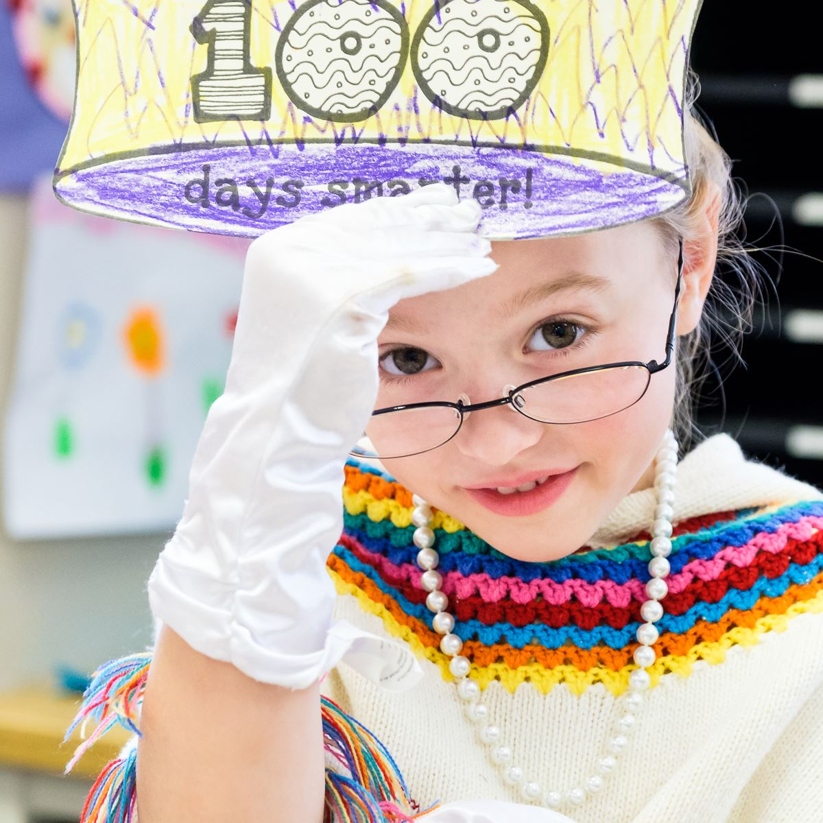 Photo of student in costume for 100 day celebration.