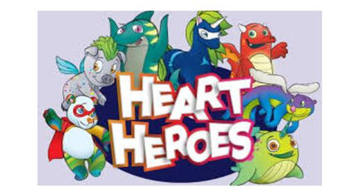 cartoon super heroes animals including a panda, pig with wings , unicorn, dragon, otter&  narwhale