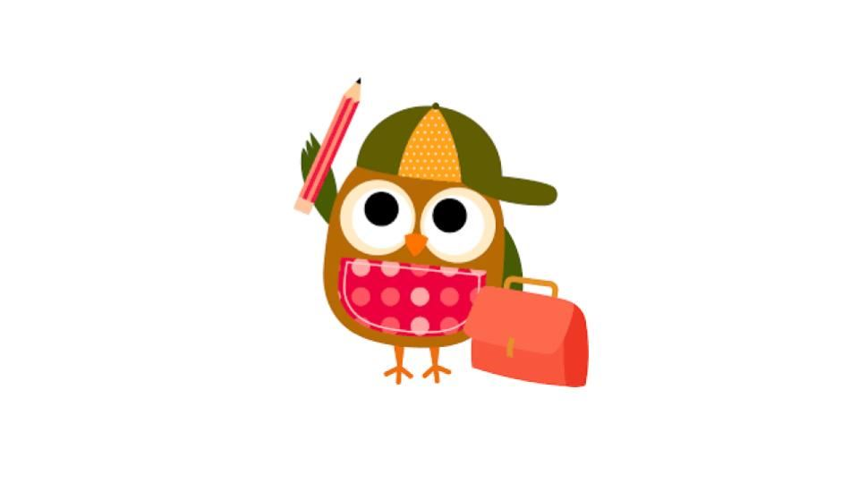 owl wearing hat and holding lunch box and pencil