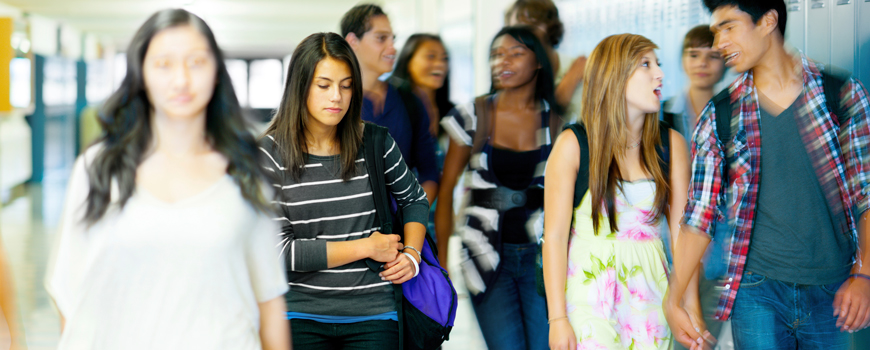 Photo of students in the hallway