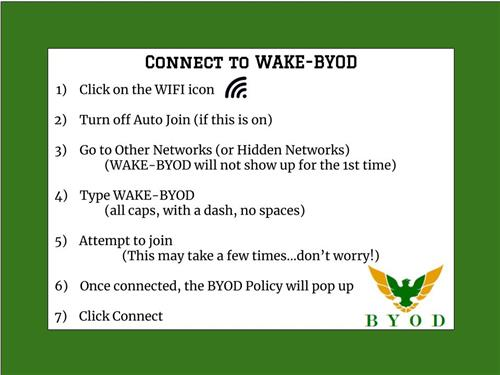 WAKE-BYOD Connection Instructions