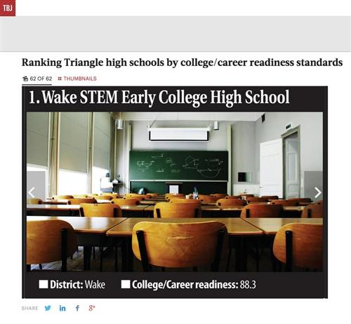 Wake STEM ECHS Ranked 1 in College Readiness by Triangle Business Journal