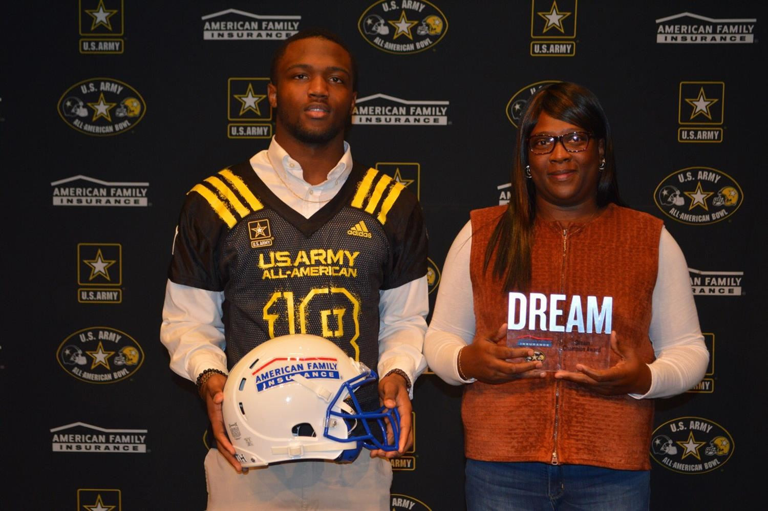 Heritage High School running back Ricky Person, pictured here with his mother, will play in the U.S. Army All-American Bowl.