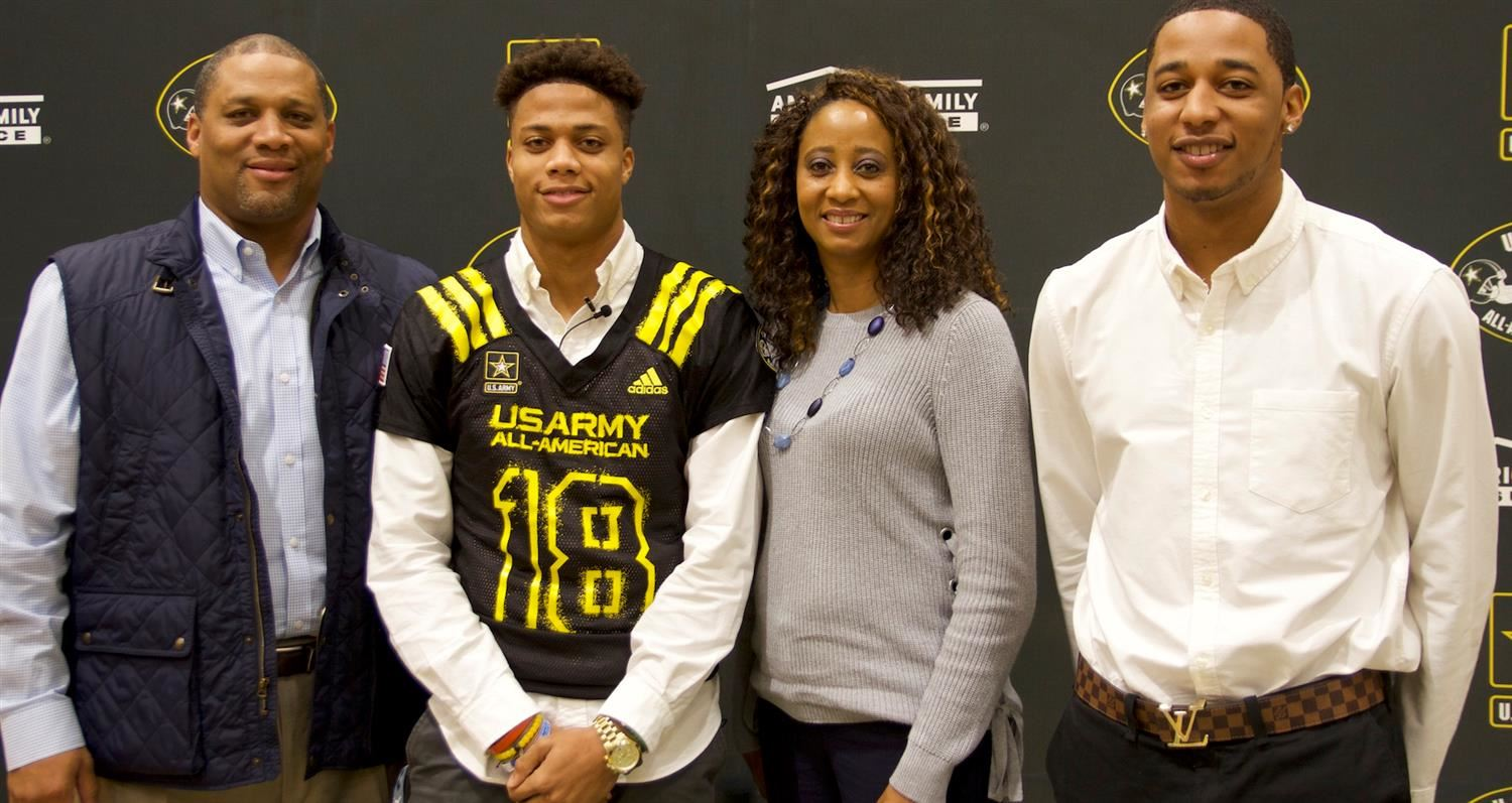 Jordyn Adams and family after his selection to the U.S. Army All-American Bowl.