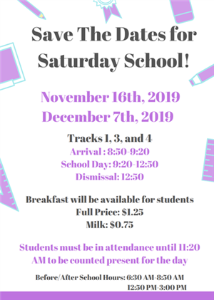 Save the Date for Saturday School