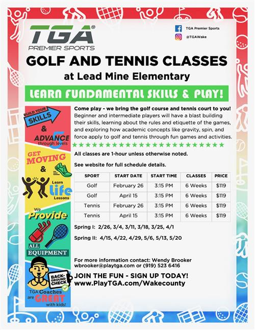 TGA flyer for Golf and Tennis