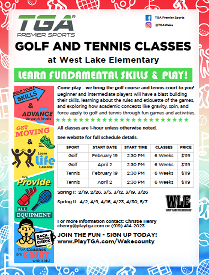 Registration for Golf & Tennis Lessons