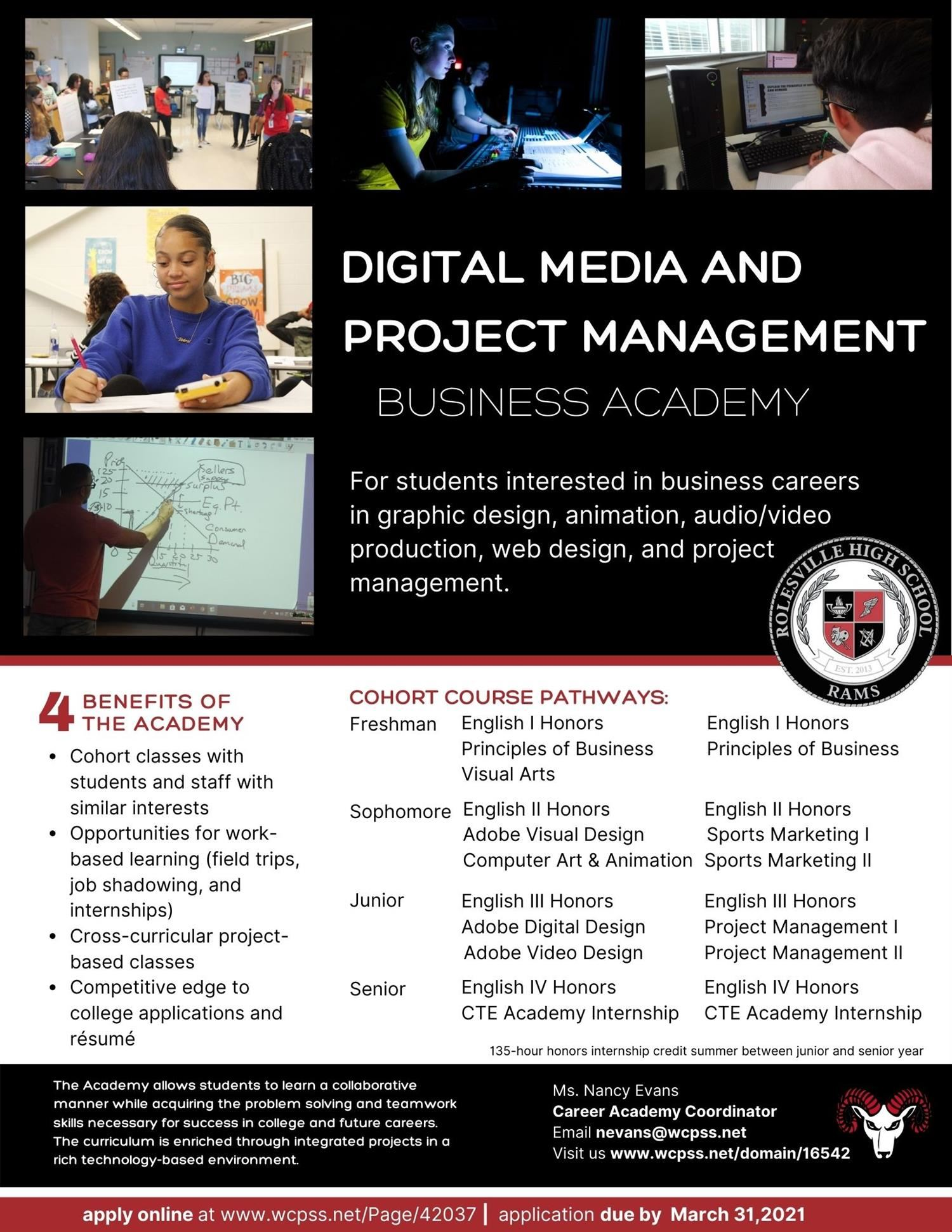 Rolesville high school announces digital arts and project management academy