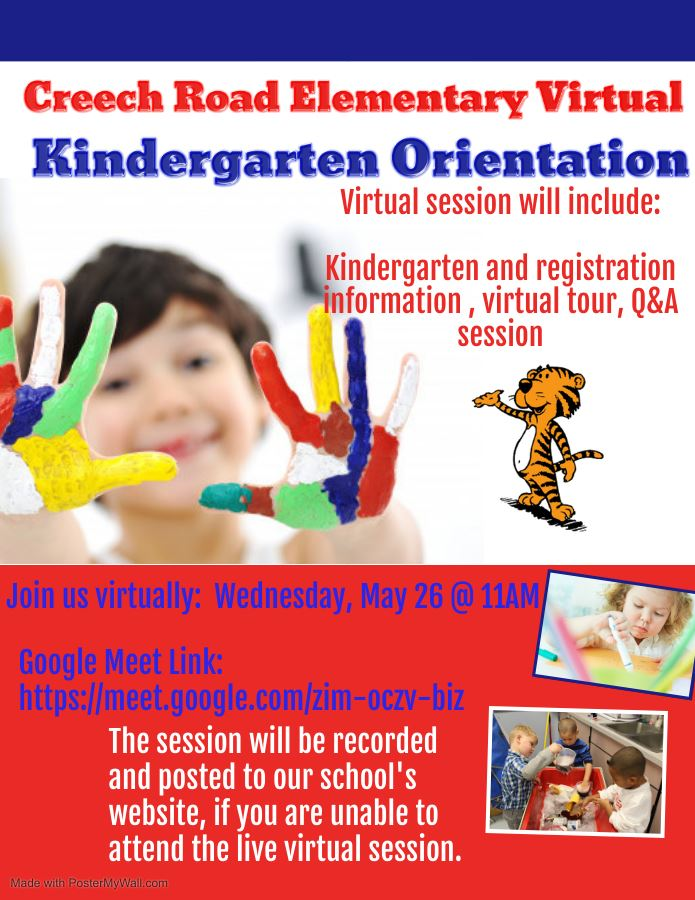 Image of child with finger painting, and information regarding the virtual orientation session.