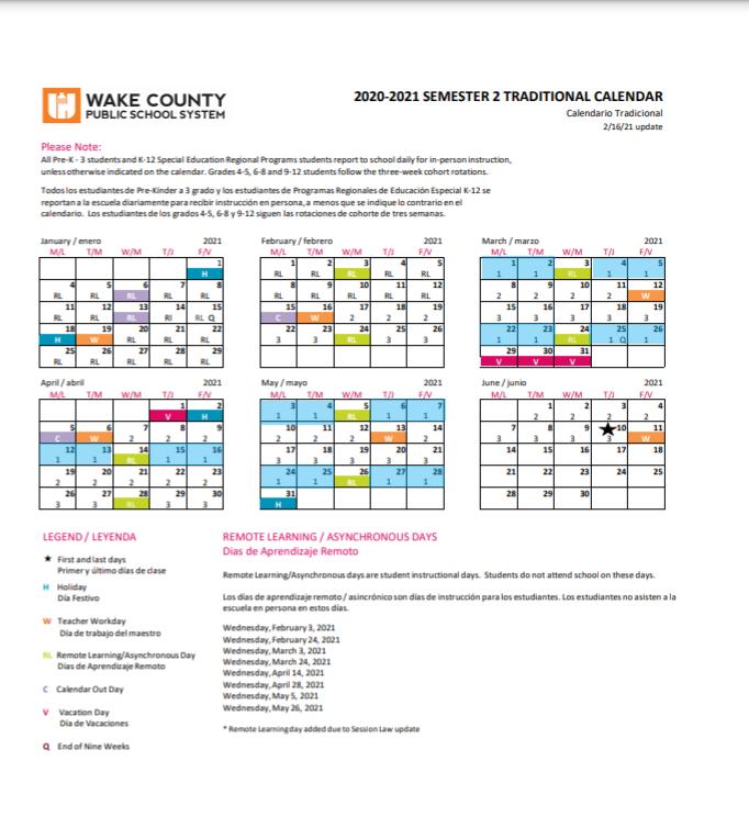 Wake County Year Round Calendar 2022.Calendars Schedules Instructional Calendars