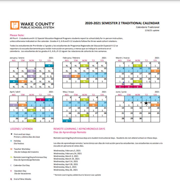 Wake County Traditional Calendar 2022.Calendars Schedules Instructional Calendars